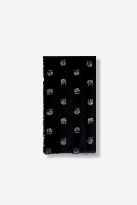 Alix the label woven dot leopard scarf zwart - Alix The Label