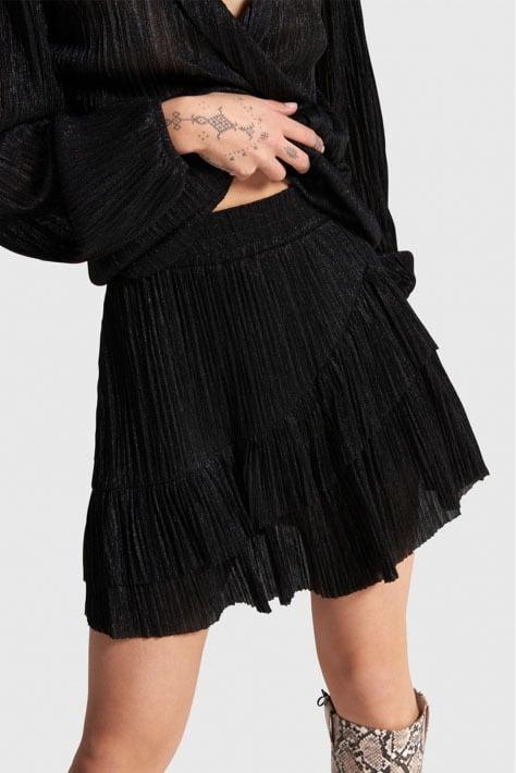 Alix the label knitted lurex mesh ruffle rok zwart - Alix The Label