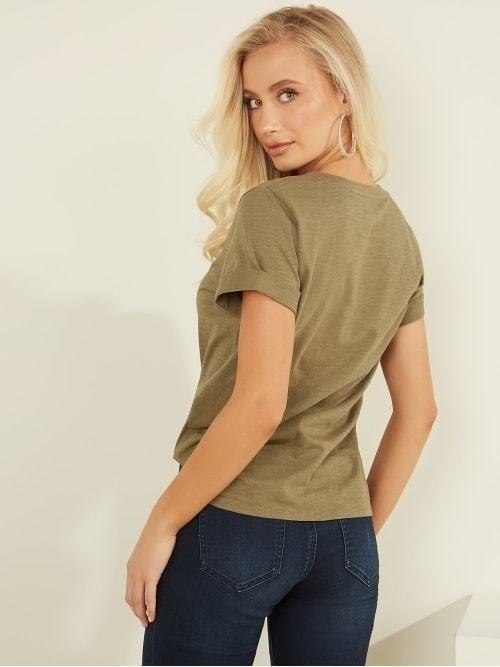 Guess roll cuff t-shirt groen - Guess