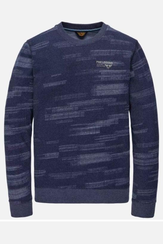 Pme legend long sleeve r-neck light jacquard blauw - Pme Legend