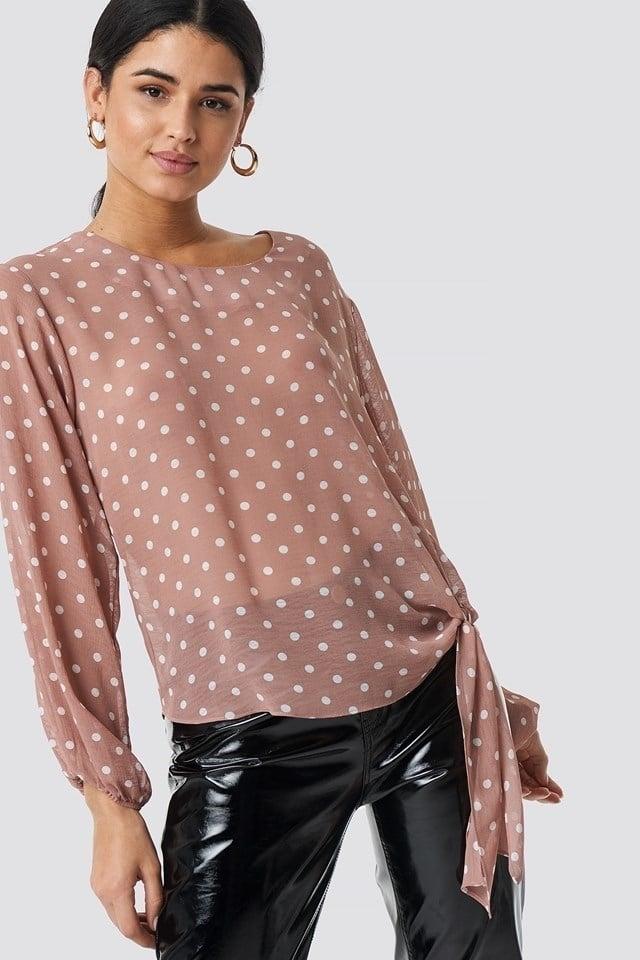 Rut and circle dot sleeve open blouse roze - Rut And Circle