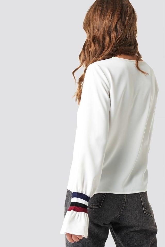 Rut and circle sleeve stripe blouse wit - Rut And Circle