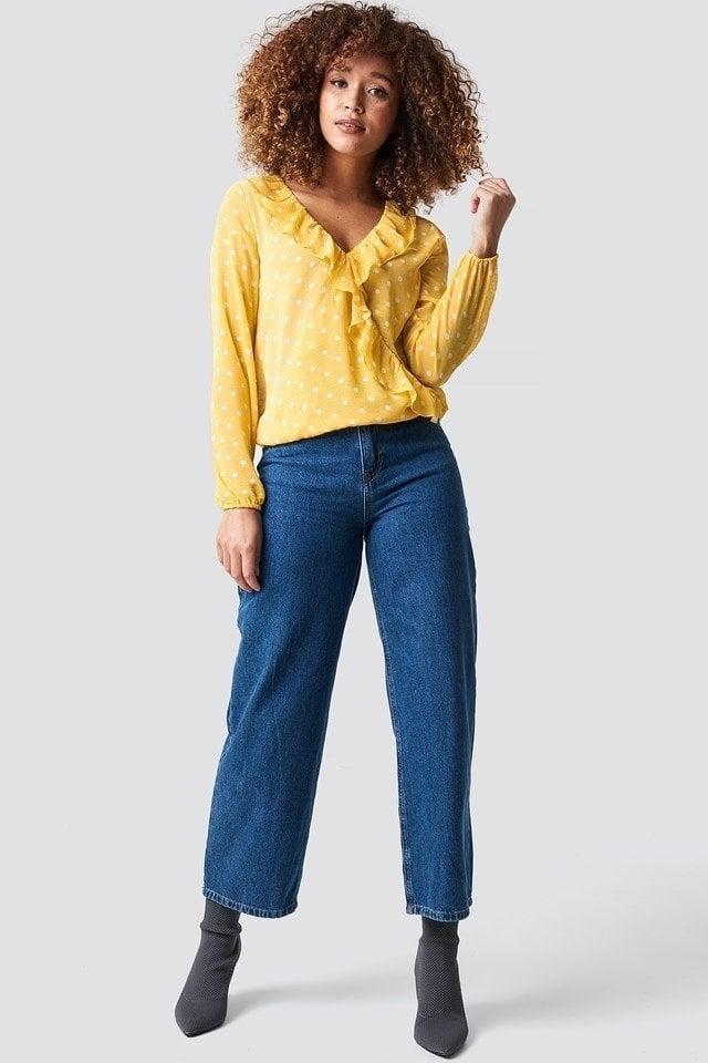 Rut and circle frill wrap blouse geel - Rut And Circle
