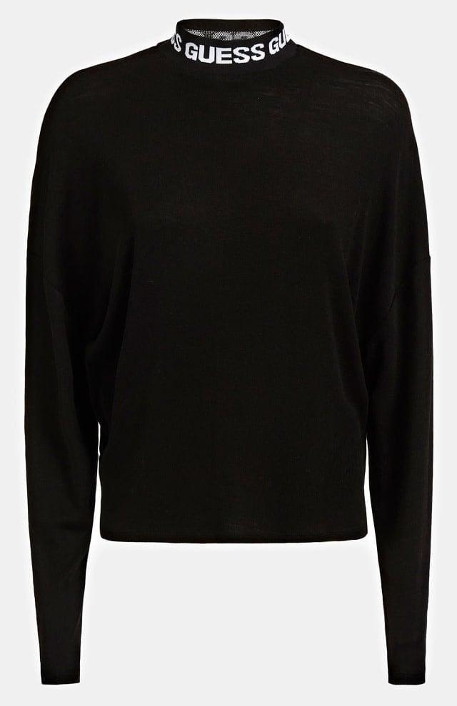 De guess wool blend jacquard top zwart - Guess