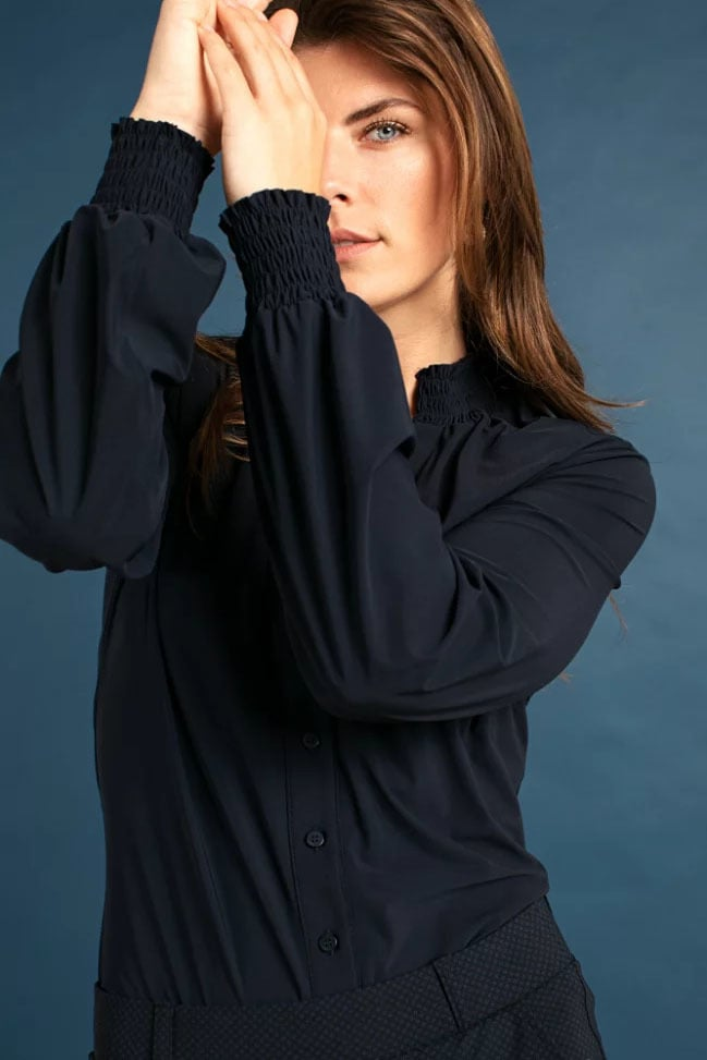 Studio anneloes fiene smoq blouse blauw - Studio Anneloes