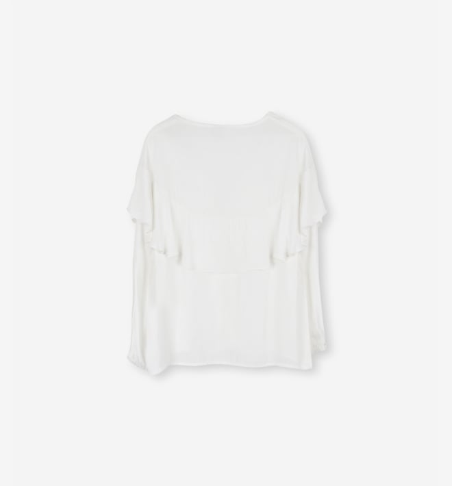 Alix flowy ruffled top off white - Alix The Label