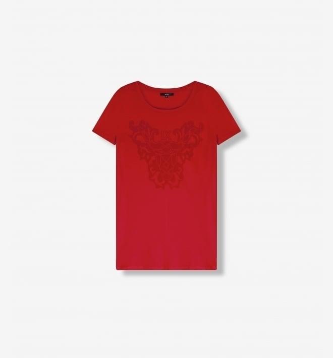 Alix the label flock print t-shirt orange red - Alix The Label