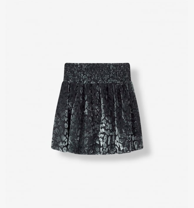 Alix the label leopard burn out skirt dark silver - Alix The Label