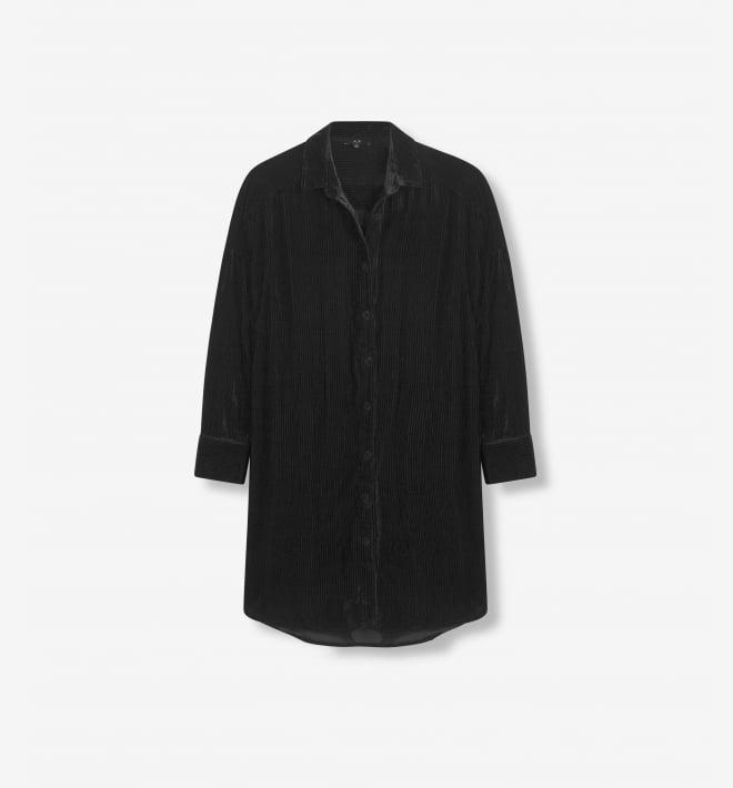 Alix the label rib velvet blouse black - Alix The Label
