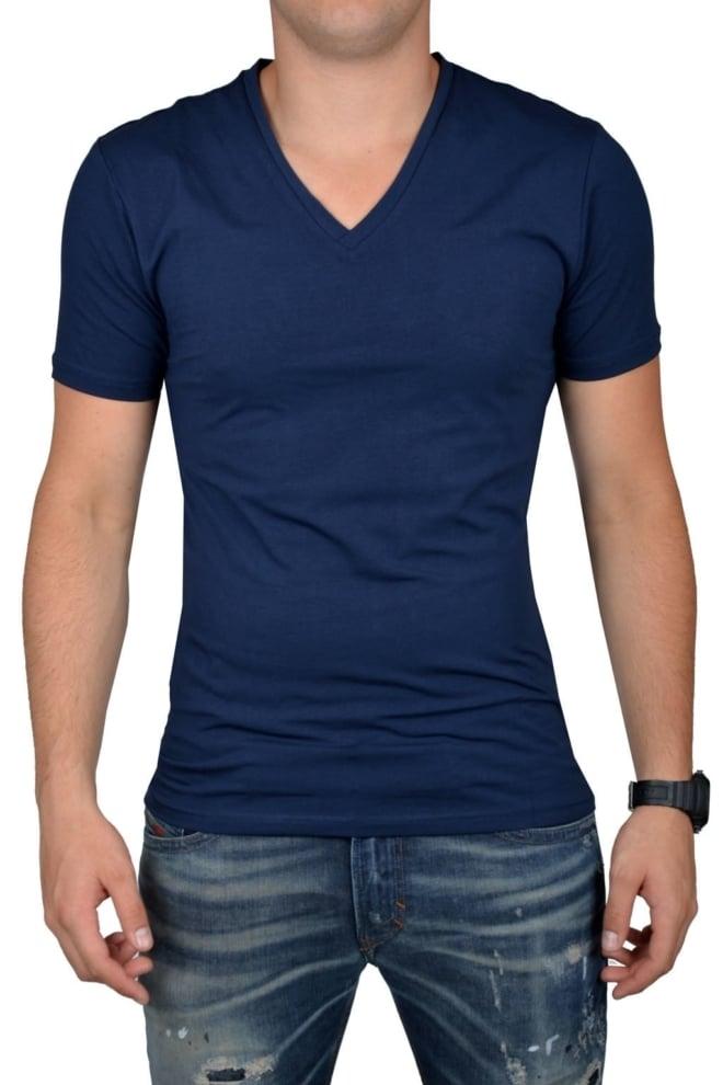 Navy t-shirt men v-neck - Fashionating People