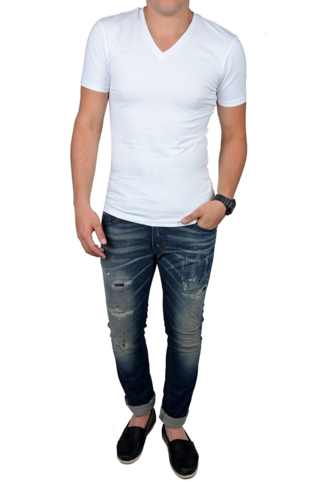 White t-shirt men v-neck - Fashionating People