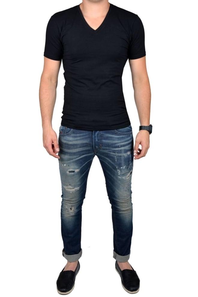 Black t-shirt men v-neck - Fashionating People