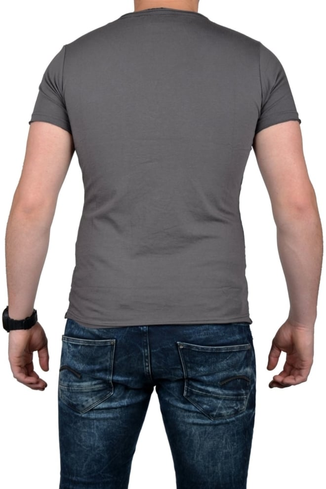 Grey t-shirt men double v-neck - Fashionating People