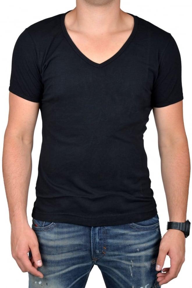 Black t-shirt men deep v-neck - Fashionating People