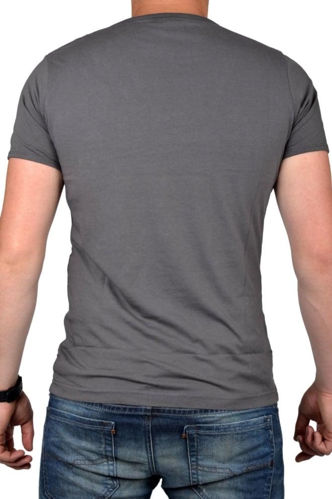 Grey t-shirt men deep v-neck - Fashionating People