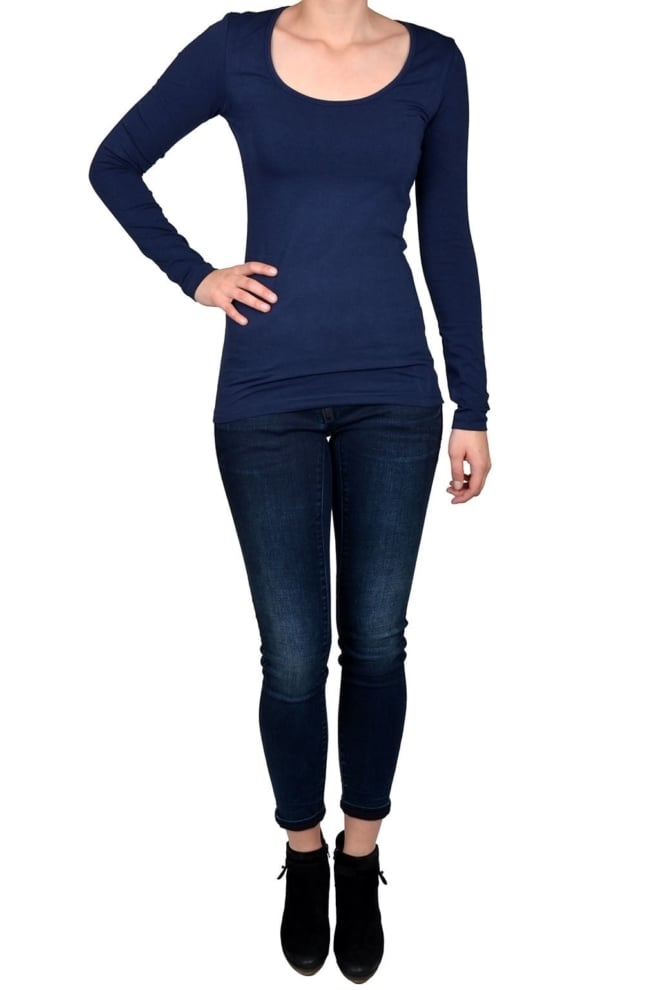 Navy t-shirt women long sleeve - Fashionating People