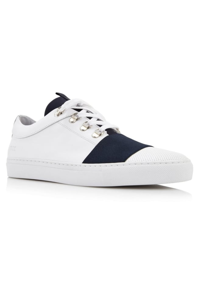 Jhay neo perfo white leather navy trim 013 - Nubikk