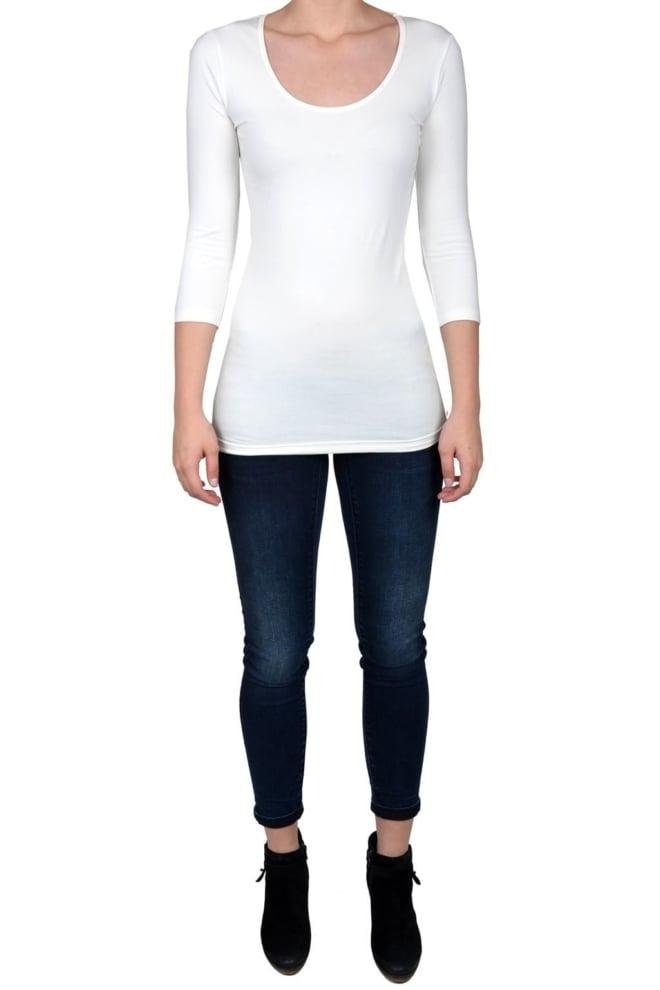 Off-white t-shirt women 3/4 sleeve o-neck - Fashionating People