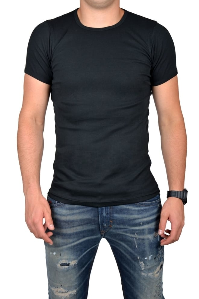 Black t-shirt men o-neck, 2-pack - Fashionating People