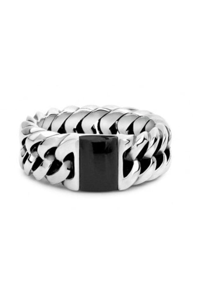 Chain stone ring 603  onyx 013 - Buddha To Buddha