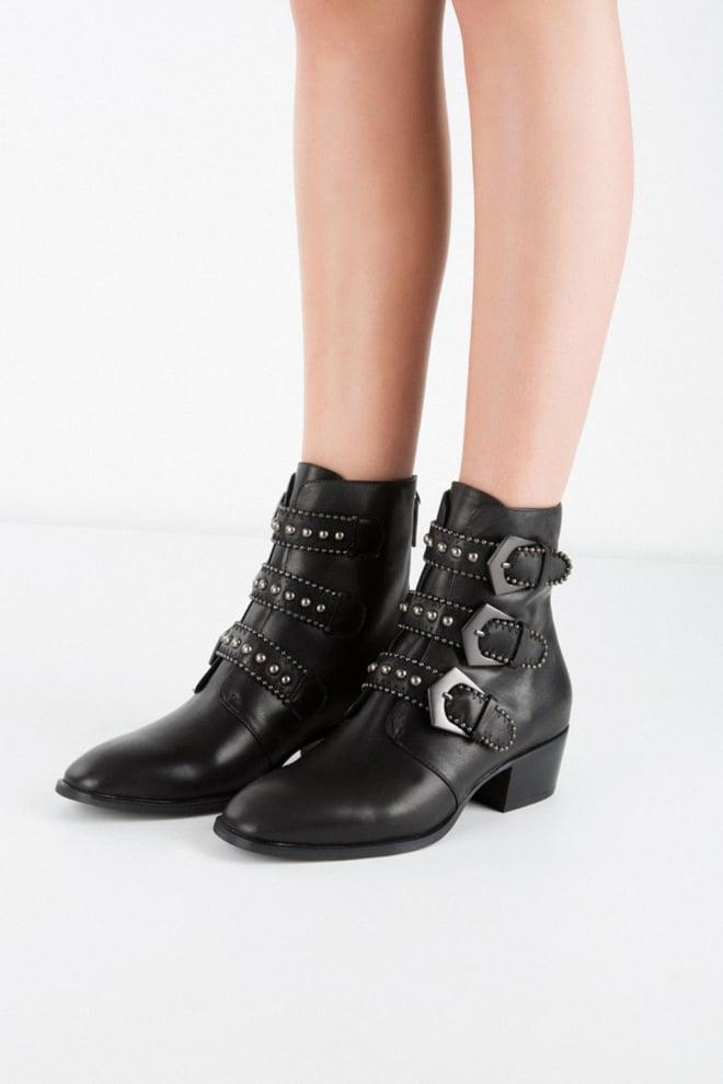 Lola cruz leather studdes ankle boots black - Lola Cruz
