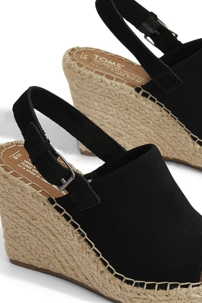 Toms black suede monica wedges - Toms