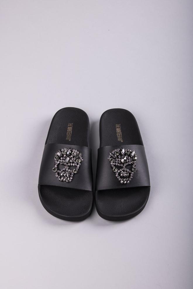 The white brand skull brilliant black slippers - The White Brand