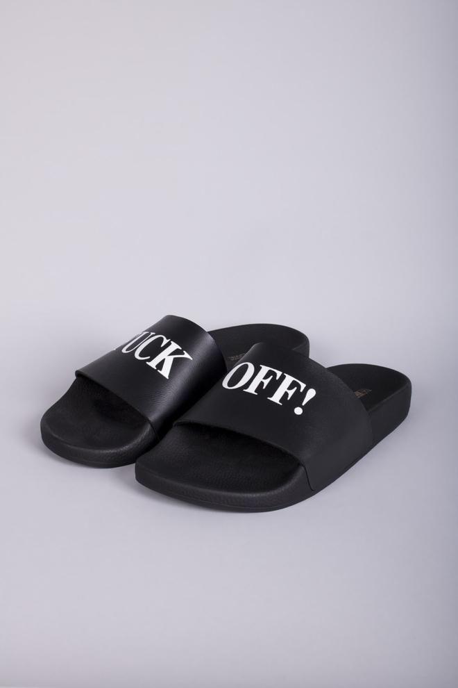 The white brand fuck off slippers black - The White Brand