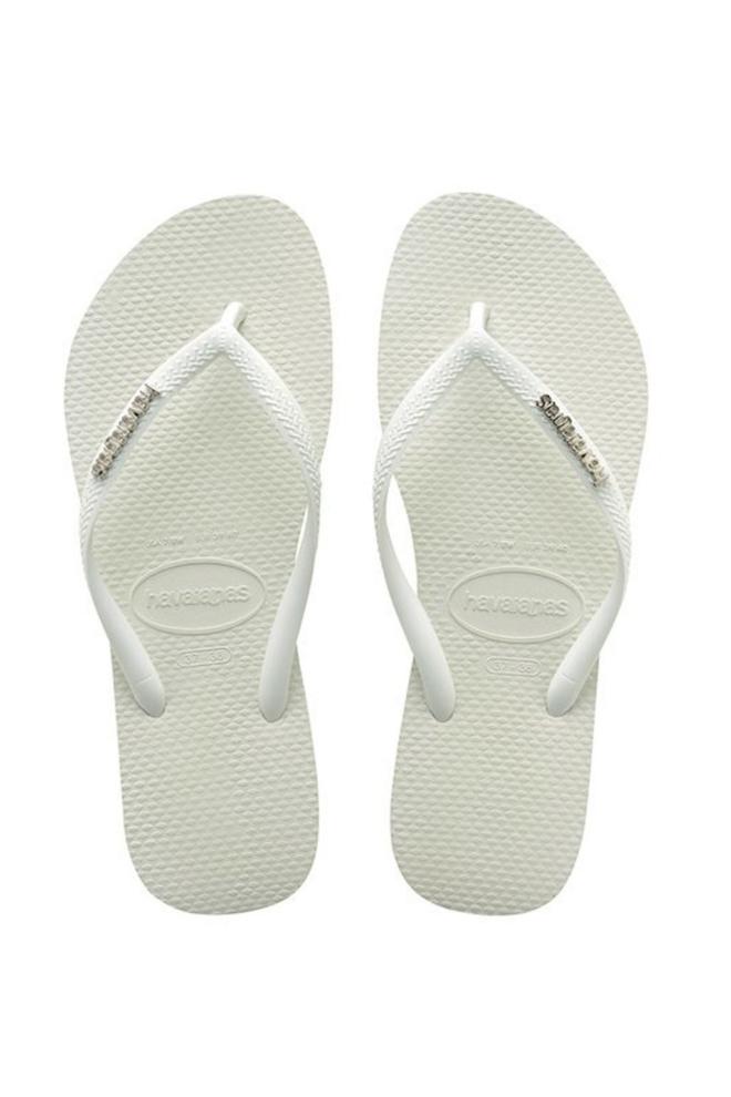 Havaianas slim logo metallic slippers white/silver - Havaianas