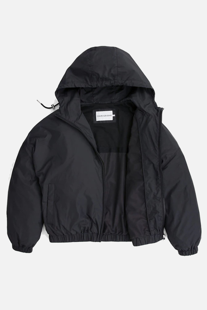 Calvin klein hooded zip nylon jack black - Calvin Klein