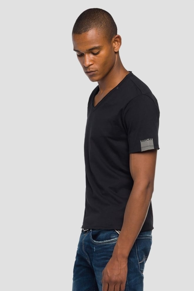 Replay raw cut v-neck cotton t-shirt - Replay