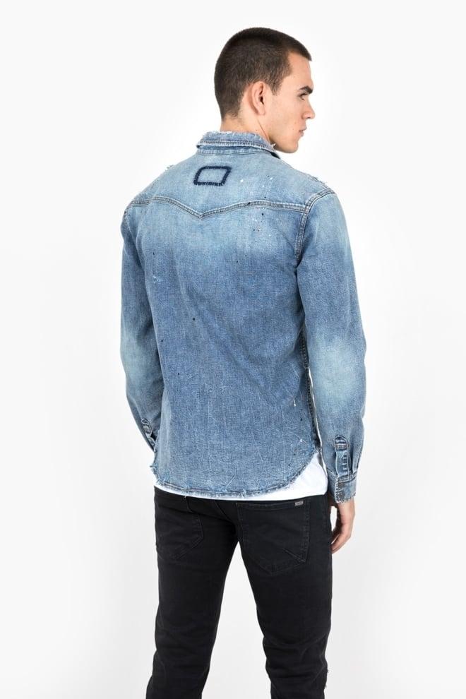 Tigha fred shirt vintage sand blue - Tigha
