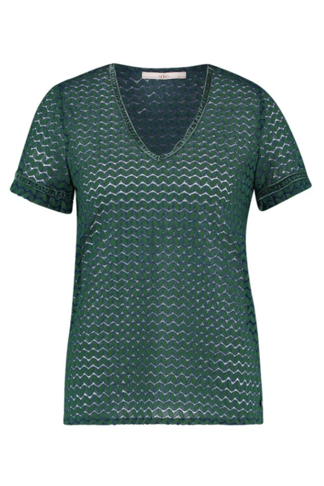 Aaiko flory t-shirt emerald green - Aaiko