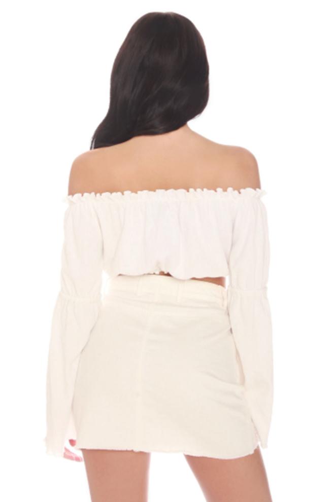 La sisters mini denim skirt white - La Sisters