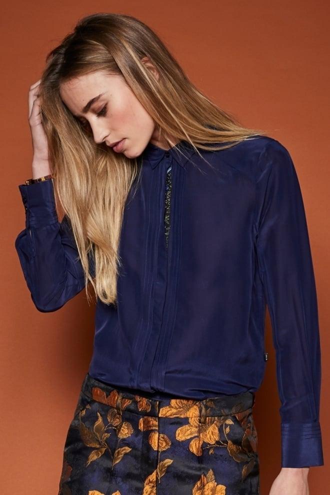 10 feet blouse in zijde blend met pin tuck details - 10 Feet
