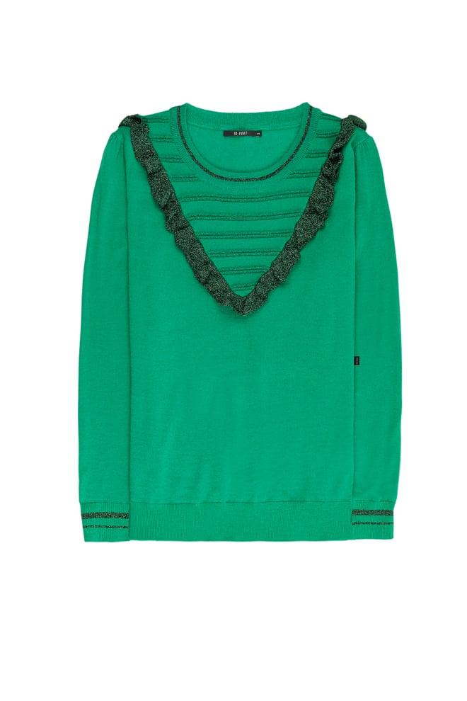 10 feet trui met ruffles en lurex details groen - 10 Feet