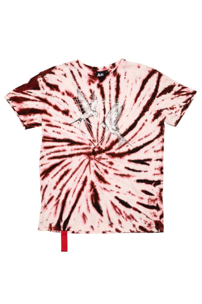 Ah6 tattoo bird t-shirt tie dye rood - Ah6