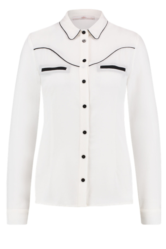 Aaiko finou colourblock pes blouse wit - Aaiko