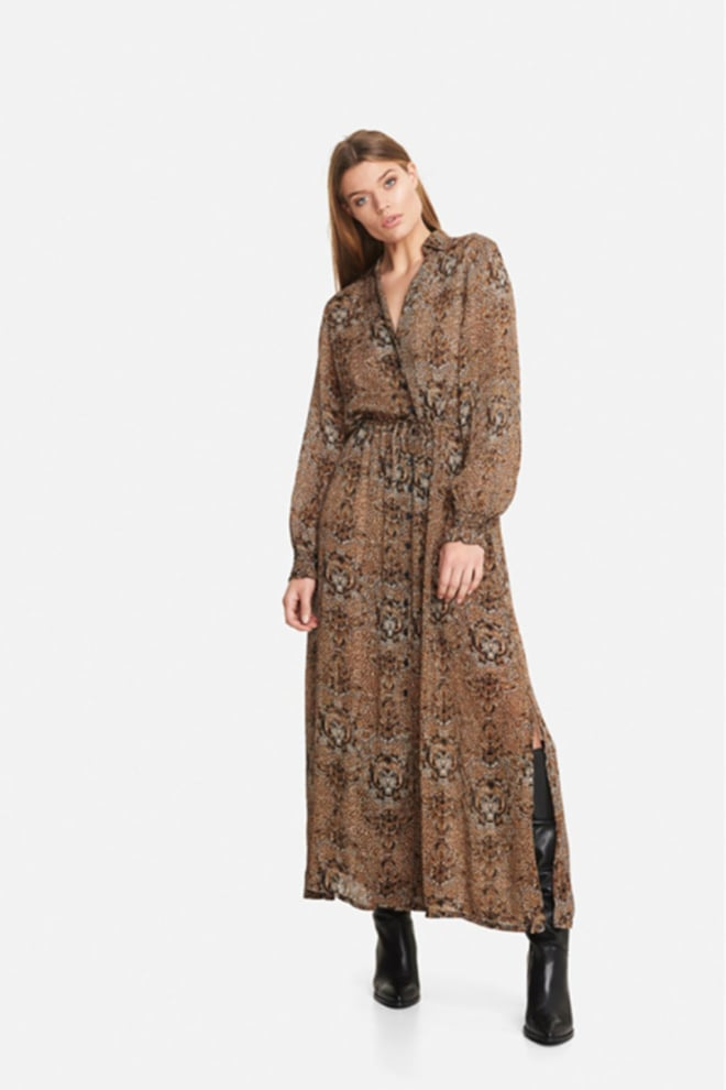 Alix the label animal crepe long dress bruin - Alix The Label