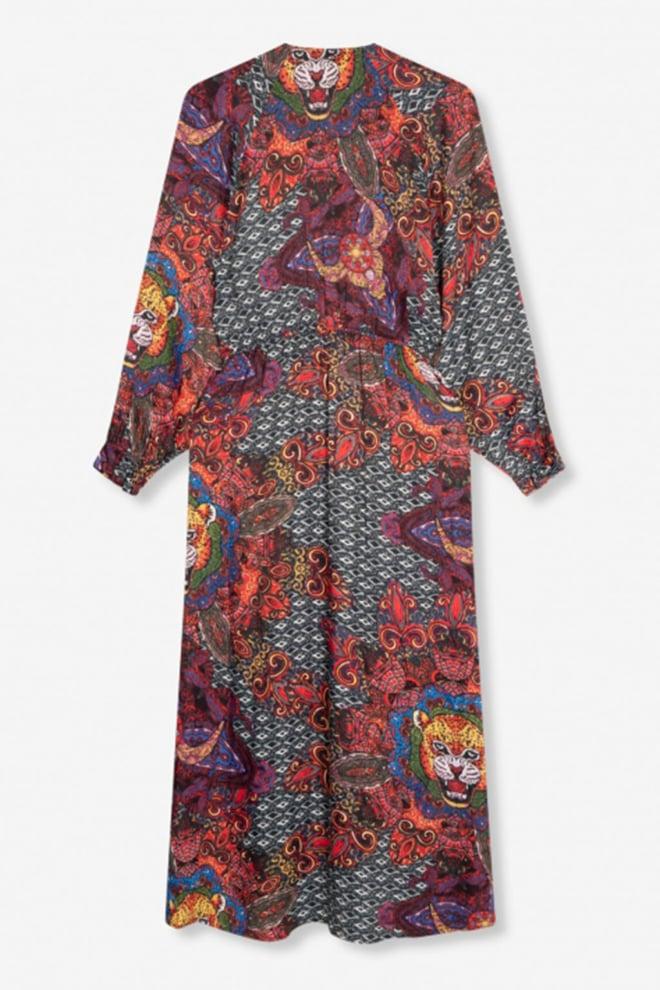 Alix the label ethnic satin long dress multi colour - Alix The Label