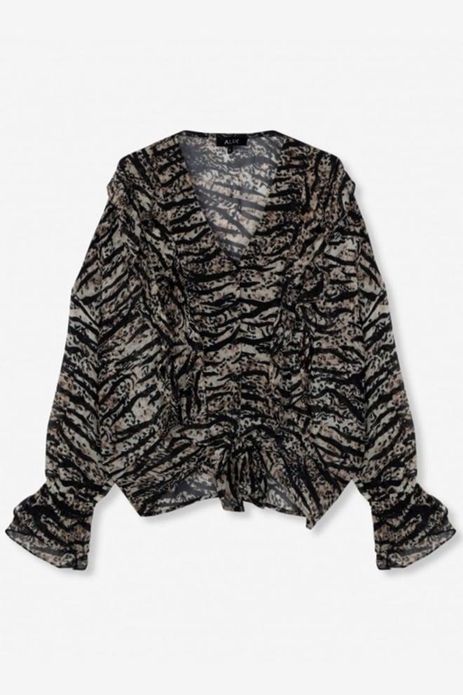 Alix the label animal chiffon blouse bruin - Alix The Label