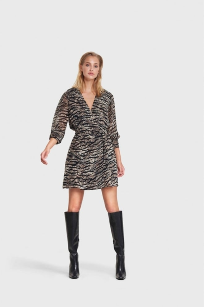 Alix the label animal chiffon jurk bruin - Alix The Label