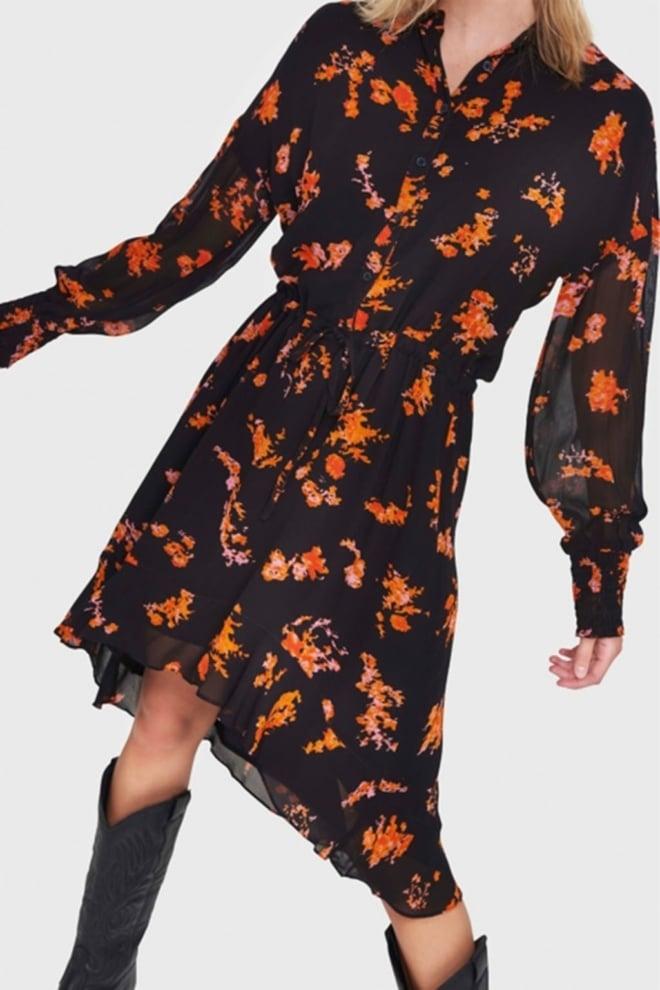 Alix the label chiffon bloemenjurk zwart - Alix The Label