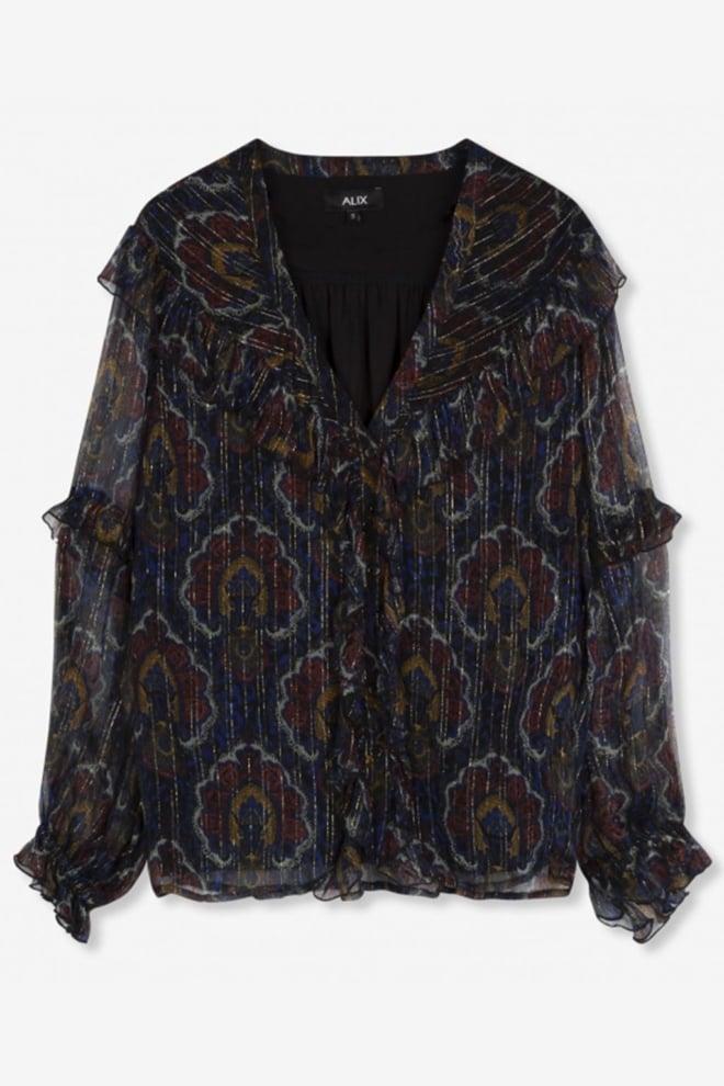 Alix the label ornament blouse zwart - Alix The Label
