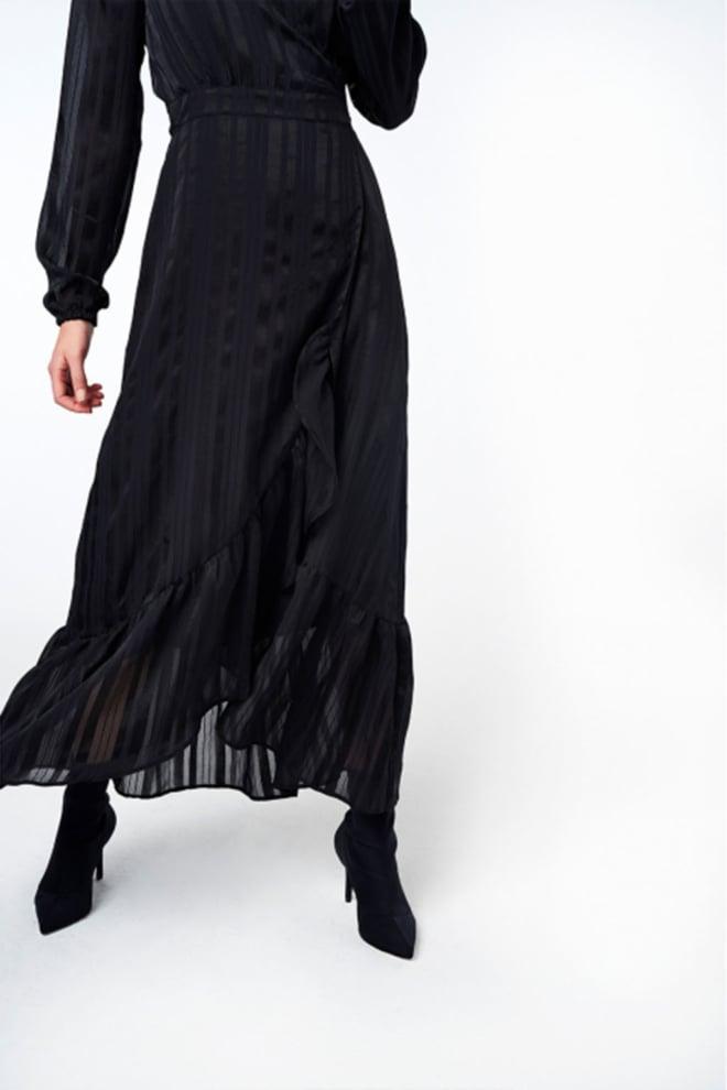 Alix the label stripe jacquard jurk zwart - Alix The Label