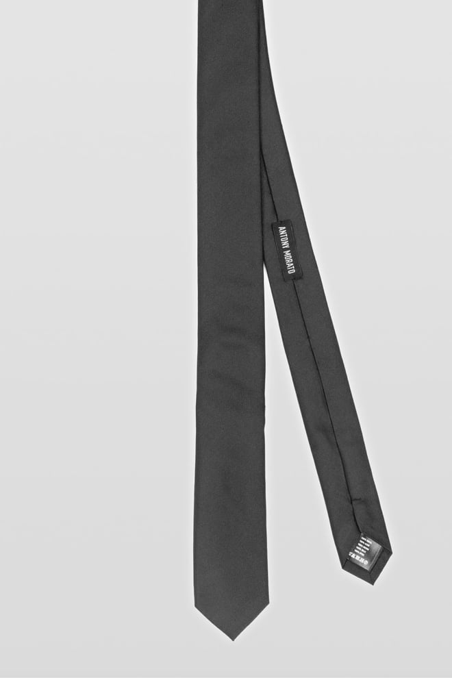 Antony morato tie in plain colour silk twill black - Antony Morato