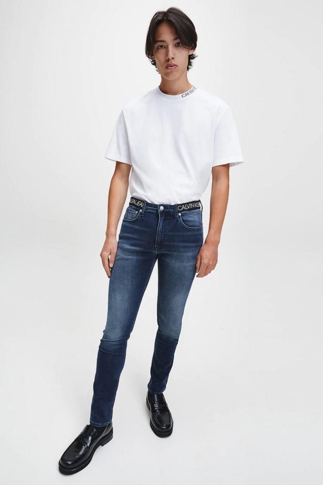 Calvin klein jeans t-shirt met logokraag wit - Calvin Klein Jeans