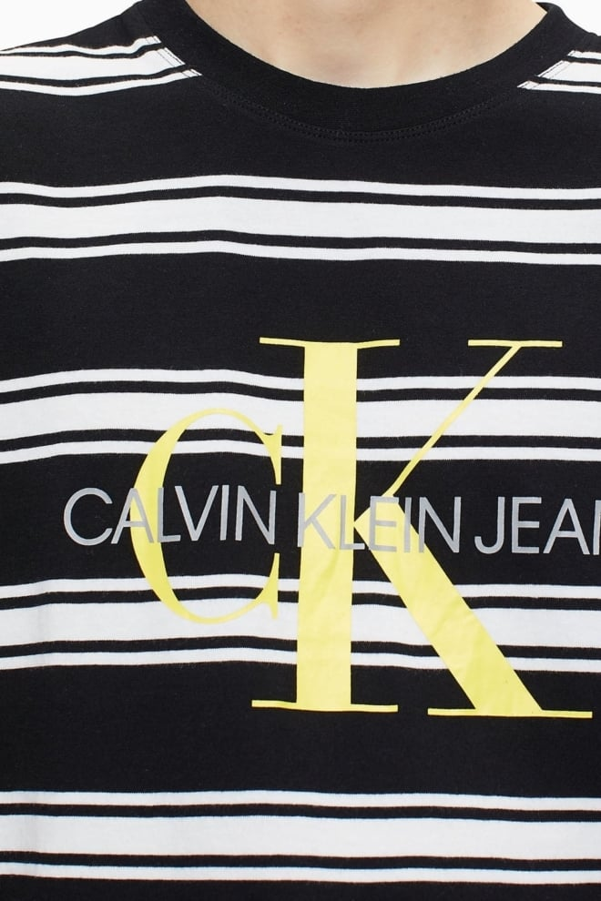 Calvin klein monogram t-shirt gestreept zwart/wit - Calvin Klein Jeans
