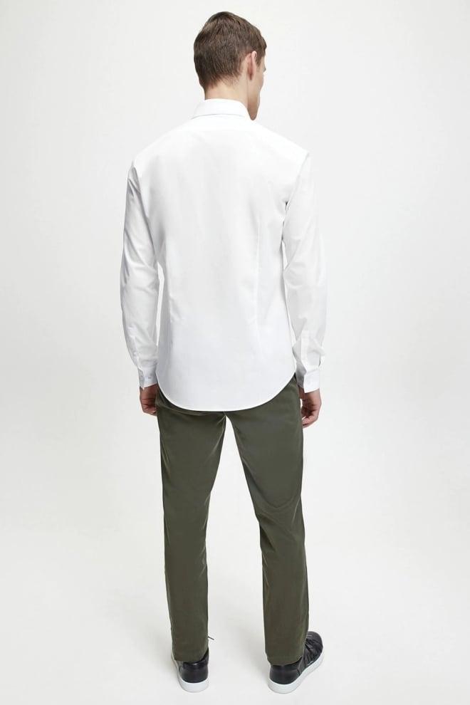 Calvin klein poplin stretch overhemd wit - Calvin Klein
