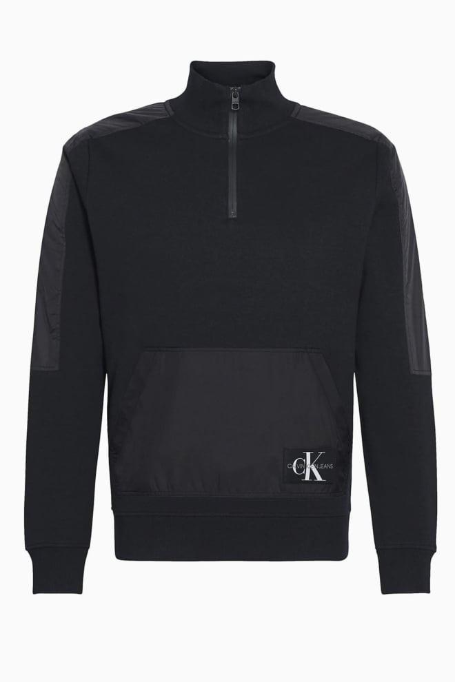 Calvin klein mixed media trui zwart - Calvin Klein